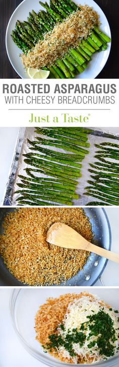Roasted Asparagus with Cheesy Breadcrumbs #recipe on justataste.com