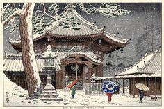 Asano Takeji, Snow at Kofukuji no Nanendo, Nara, 1953
