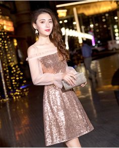 9e48e634961014 2019 Fit And Flare Long Sleeved Sequin Short Christmas Dresses Cocktail  Dresses Customizable Semi Formal Dress Rose Gold Off The Shoulder