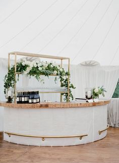 I really like this bar shape. I have no idea what is available for portable bar rentals or what our price point would be for that. I like the shelf behind it- maybe we could use that champagne shelf here after we use it for the ceremony Wedding 2017, Dream Wedding, Wedding Day, Bar Wedding Ideas, Wedding Trends 2018, White Tent Wedding, Wedding Reception Layout, Cocktail Wedding Reception, Cape Cod Wedding