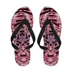 Pink Satin Abstract Flip Flops