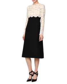 W0CN7 Valentino Floral Lace & Crepe Couture Combo Dress, Ivory/Black