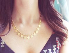 Confetti Necklace Tiny Gold Coin Necklace by amandadeer on Etsy, $32.00
