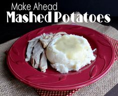 """Author says, """"They are absolutely delicious, can be made up to 2 days in advance and then reheated either in the oven or in your crock pot. My family loved them and claimed they were the best mashed potatoes I have ever made. Thanksgiving Recipes, Fall Recipes, Holiday Recipes, Great Recipes, Favorite Recipes, Vegetable Side Dishes, Vegetable Recipes, Slow Cooker Recipes, Crockpot Recipes"""