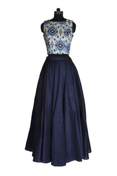Medium navy blue skirt in a paisley print crop top lehenga set front