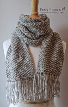 Elegant Seed Stitch Scarf - 2 balls chunky weight yarn (109 yds each), size 11 knitting needles