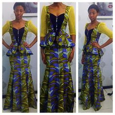 @mimchie in a skirt and peplum blouse Ankara design.