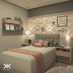 Cute Bedroom Ideas Girls That Will Make a Beautiful Dream - Pandriva Dream Rooms, Dream Bedroom, Home Bedroom, Bedroom Decor, Bedroom Ideas, Headboard Ideas, Teenage Girl Bedrooms, Girls Bedroom, Girl Rooms