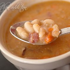 Crock-Pot Ham and Bean Soup Recipe | Key Ingredient Sub navy beans yummo!