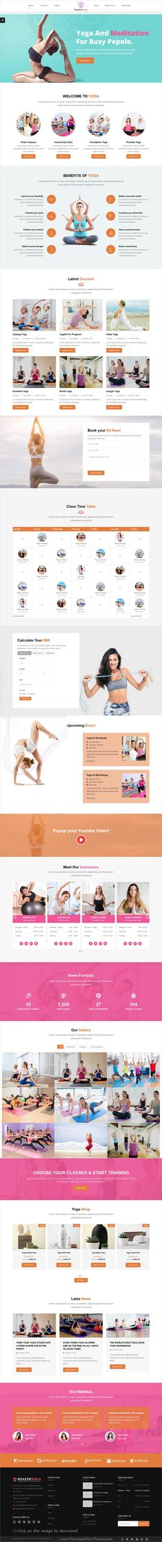 Health Yoga is clean and modern desing responsive #bootstrap template for #yoga, gym, #fitness and beauty spa and wellness centers website to download click on image.
