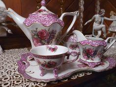 Betty Platner RED ROSE PURPLE MARBLE SERVICE SET Porcelain Treasures TRAY TEAPOT #PorcelainTreasures