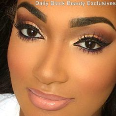 African American Makeup, brows kinda heavy for my taste, but love the overall look. with natural blush and nude lop.