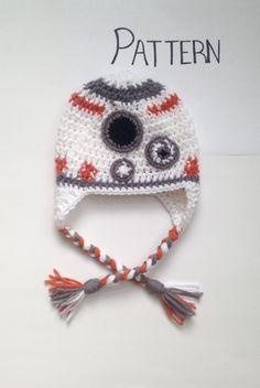 Star Wars crochet hat pattern.  BB2 crochet hat pattern. R2D2 hat pattern.  Crochet hat Patterns. By CraftedVisions