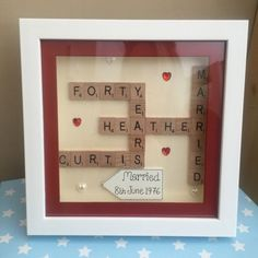 BOXED FRAME SCRABBLE LETTERS WEDDING RUBY SILVER GOLDEN ANNIVERSARY ENGAGEMENT in Home, Furniture & DIY, Celebrations & Occasions, Other Celebrations & Occasions | eBay Ruby Wedding Anniversary, Golden Anniversary, Anniversary Cards, Scrabble Letters, Stone Pictures, Arts And Crafts, Diy Crafts, Box Frames, Shadow Box