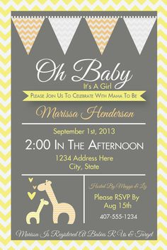 Yellow and gray baby shower invitation print your own gray and giraffe invitation giraffe baby shower safari baby shower gender neutral baby shower couples baby shower baby shower invite g1 filmwisefo