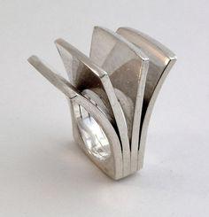 Big Vintage 1974 Architectural Modern Pekka Piekainen Finland Sterling Ring