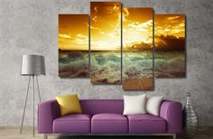 Own this amazing golden sunset beach wave wall canvas today we will ship the canvas for free. This is the perfect center piece for your home. It is easy to assemble and hang the panels together which makes this a great gift for your love ones.  This painting is printed not handpainted and is ready to hang! We have 2 options for this canvas -- Size 1: (30x80cmx2, 30x60cmx2) Size 2: (40x100cmx2, 40x80cmx2) Limited quantities left. www.octotreasures.com