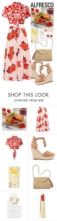 """Saturday morning"" by francyilaria ❤ liked on Polyvore featuring Ganni, GCDS, Raye, Mar y Sol, Marc Jacobs, J.Crew, red, prints, alfresco and polyvorecontest"