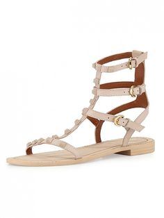 @RebeccaMinkoff Studded Sandals in a blush tone with tonal pyramid studs