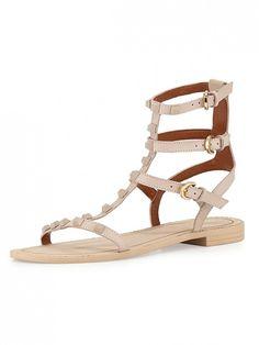 Blush studded Rebecca Minkoff gladiator sandals.