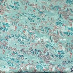 Aqua Brocade. Chinese Brocade. Floral fabric. by fabricAsians