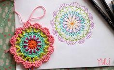 Crochet mandala chart pattern