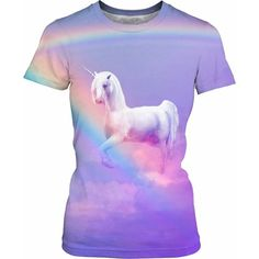 Unicorn and Rainbow Womens T-Shirt ($30) ❤ liked on Polyvore featuring tops, t-shirts, purple top, unicorn top, unicorn tee, rainbow t shirt and purple t shirt