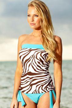 Classic Bandeau Zebra Tankini Top