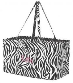 Monogrammed Zebra Print Ultimate Carry All $45.  My daughter wants everything zebra print! #thepinkmonogram
