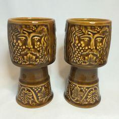 Vintage Bacchus Wine Goblet Set of 2 - Brown Ceramic Face Cups