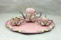 Shabby Chic Miniature Tea Set Collector's Item by AltaMacStudio