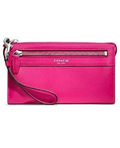 Coach Leather Zippy Wallet Wristlet 48688 Fuschia Hot Pink,$108.00