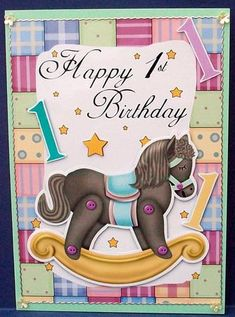 1st Birthday Card Front With Rocking Horse on Craftsuprint designed by Tanya Hall - made by Cheryl French - Printed onto glossy photo paper. Attached base image to card stock using ds tape. Edged image with peel offs. Built up image with 1mm foam pads. Added gems. - Now available for download!