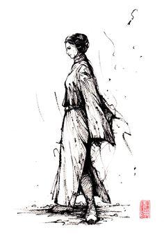 Leia with sumi ink by MyCKs on DeviantArt