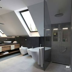 Attic Living Rooms, Bathroom Interior, Attic Bathroom, Bathroom Cost, Bathroom Design Luxury, Bathroom Design Options, Small Attic Bathroom, Sloped Ceiling Bathroom, Bathroom Interior Design