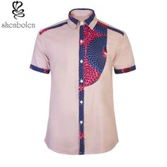 Mens Fashion on Share Sunday Men's African print shirt-Slim fit Fitted short sleeve half bib . African Shirts For Men, African Dresses Men, African Clothing For Men, Latest African Fashion Dresses, African Print Fashion, Africa Fashion, African Attire, African Prints, African Outfits