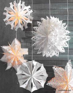 Actually these 3D paper snowflakes are lamps. And quite expensive ones, if I may say so, taken into account it's cardboard...