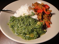 Saag with Shrimp, Green Beans in Onion Sauce, and Rice