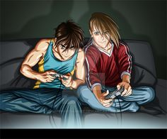 A commission for who wanted a picture of Heero and Trowa from Gundam Wing having some bro times. I found a stock photo online of two guys playing . Heero and Trowa- Gamers Anime Toon, Mecha Anime, Fantasy Tv, Anime Fantasy, Heero Yuy, Gundam Wing, Great Pic, Mobile Suit, Cute Anime Guys