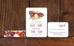 Rustic Floral Poster Wedding Invitations,Rustic Floral Wedding Invites,Fall Floral Wedding Invitation,Deep Red Floral Wedding Invite,Autumn