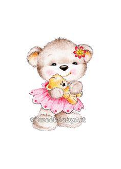Teddy Bear Nursery Art, Animal Nursery Print, Children Art Print, Kids Wall Art, Baby Nursery Decor by SweetBabyArt on Etsy Tatty Teddy, Baby Nursery Decor, Nursery Art, Cute Images, Cute Pictures, Art Wall Kids, Art For Kids, Teddy Bear Tattoos, Teddy Bear Nursery