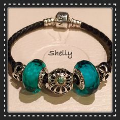 Black leather with Teal muranos and Vintage Allure
