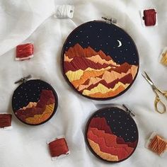 The warmest of palettes 🍁💥 Beautiful work from @firesidethreads #dmcthreads #dmcembroidery