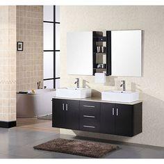 <li>Contemporary double sink vanity comes with vessel sinks</li> <li>Furniture will add style to your bathroom decor</li> <li>Hardwood vanity has a natural marble counter top</li>