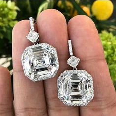 carats of perfection: A matched pair of square emerald-cuts, D color, internally flawless, each is just over carats. On the block sale of on April 25 2017 in Image courtesy of Via highjewellerydream. Emerald Cut Diamonds, Diamond Studs, Cute Earrings, Beautiful Earrings, Solitaire Earrings, Diamond Earrings, Diamond Jewelry, Modern Jewelry, Fine Jewelry