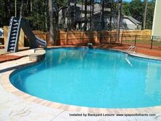 Inground Pools With Diving Board And Slide retangular pool with slide and diving board | fiberglass pools
