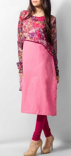 Pink Attractive Chiffon Kurti for Women Pakistani Dresses, Indian Dresses, Indian Outfits, Churidar Designs, Look At You, Indian Designer Wear, Fashion Outfits, Womens Fashion, Indian Wear