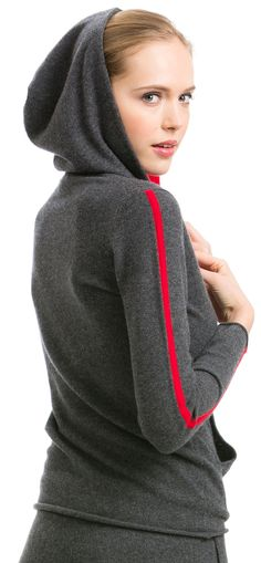 Citizen Cashmere's Color Blocked Hoodie is designed with luxury details and will excite the hoodie addict.