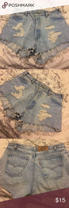 Distressed Cutoff Levi's Light wash, high rise. Distress throughout and cutoff bottom. Size 34. Levi's Shorts Jean Shorts