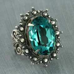 Turquoise Ring Teal Swarovski Crystal Ring Caribbean Blue Ring Steampunk Ring…